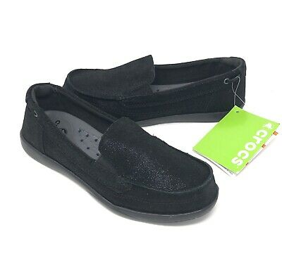 9 NEW WITH TAGS Crocs Womens Walu Shimmer Leather Loafer Shoes Size 6 7
