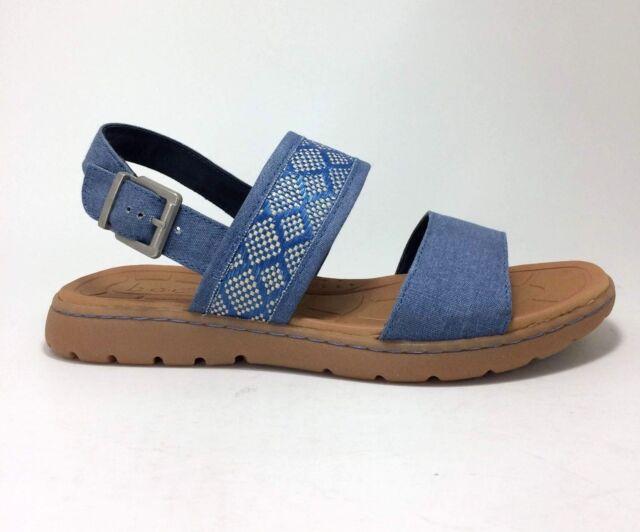 ea71a0da72e New B.O.C. Jorunn size 8 Blue Denim   Tan Woven Fabric Sandals Born Concept  BOC