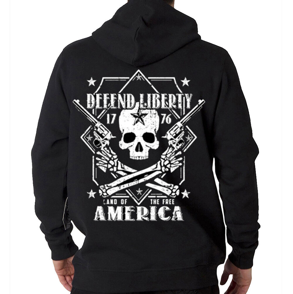 Defend Liberty 2nd Amendment Land Of The Free Skull Hooded Sweatshirt Hoodie