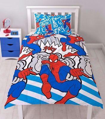 Marvel Comics Spiderman Single Duvet Cover Set Reversible Bedding with Pillowcases SINGLE