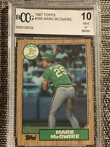 1987 TOPPS MARK MCGWIRE ROOKIE BCCG 10 MINT OR BETTER OAKLAND ATHLETICS CARD#366
