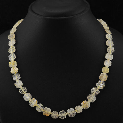 160.00 CTS NATURAL RICH GOLDEN RUTILE QUARTZ UNTREATED CARVED BEADS NECKLACE