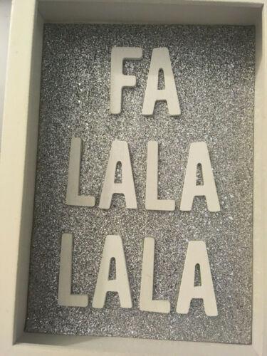EB153 NEW Wood Shadow Box Sign~FA LA LA LA LA Christmas Shelf Sitter