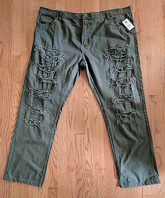 Southpole NWT Men's Distressed Ripped Slim Straight Denim Jeans Green Size 46