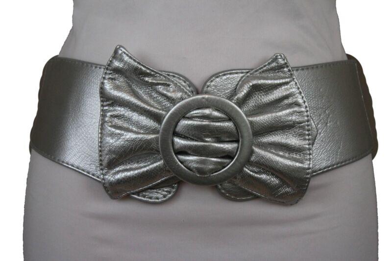 NUOVO da donna elegante pelle strass elastico fiocco cintura Cintura