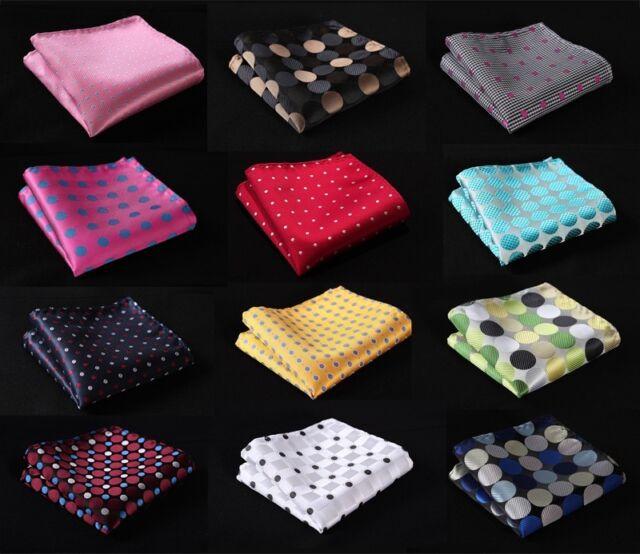 DA dot Men Silk Satin Pocket Square Hanky Wedding Party Handkerchief