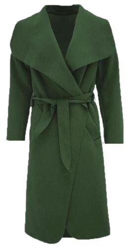 Womens Shawl Collar Belted Long Italian Drape Waterfall Coat Jacket Winter Cape