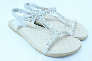 Women-039-s-Beige-Flat-Brass-Rhinsotne-Crystal-Ankle-Sandals-Party-Dress-Shoes