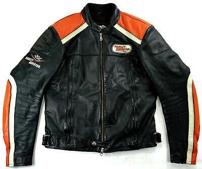 Details zu HARLEY DAVIDSON Racing Biker Motorrad Lederjacke Schwarz 50 M L