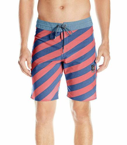 """New Volcom Men/'s Stripey Stoney 19/"""" Stretch Board Shorts Swim Surf"""
