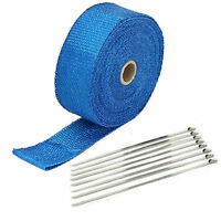 Kawasaki 2 X 50' Motorcycle Header Exhaust Heat Wrap Blue Steel Tie Straps
