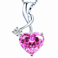 Sterling Silver Jewelry 4.0 Ctw Pink Sapphire Gemstone Pendant Heart Necklace