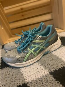 Asics-Gel-Contend-3-Size-7-5-Women-039-s-Running-Shoes-Gray-Aqua-Green-T5F9N