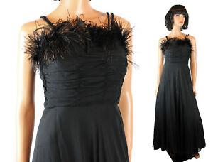 Vintage-Cocktail-Dress-XXS-40s-Sleeveless-Black-Silk-Chiffon-Gown-Feather-Trim
