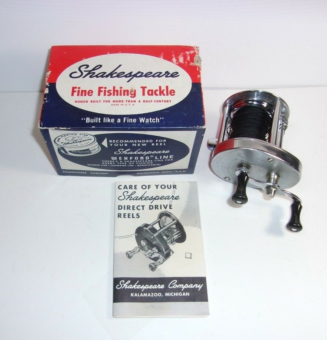 Vintage Shakespeare Direct Drive 1950 Fishing Reel w  Box & Pamphlet     T