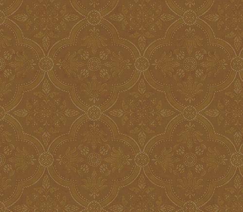 Golden Brown Rounded Diamond Shape Damask Medallion Wallpaper QT19465