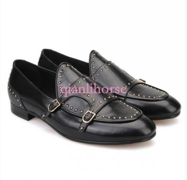 Men Metal Real Punk Real Metal Leather Dress Casual Wedding Loafer Oxford Chic Slip on Shoe 7de076