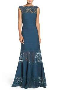 b6b9abebeae TADASHI SHOJI ILLUSIONS LACE   JERSEY STARRY NIGHT GOWN DRESS sz M ...