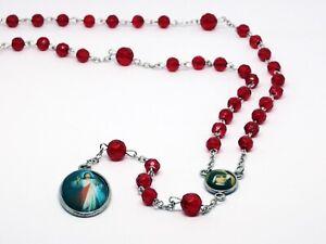 ROSENKRANZ-ROT-Taufe-Kommunion-KREUZ-Kette-MARIA-Jesus-GOTT-HALSKETTE