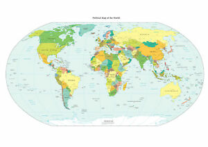 Brand New Poster Print World Map Political AA EBay - A3 printable world map