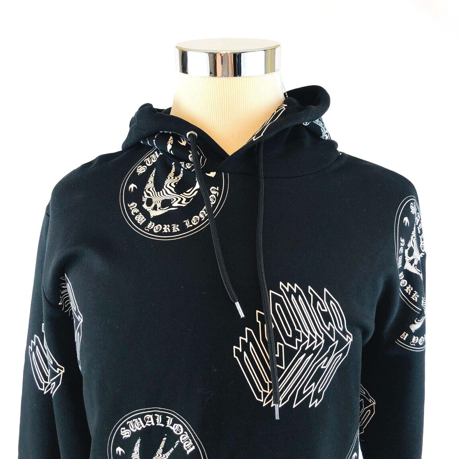 Alexander McQueen McQ Cube Swallow Big Logo Black Hoodie Sweatshirt Mens XL NWT