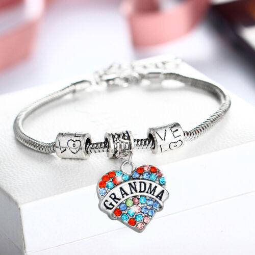 Collar de Diamantes de Imitación Mujer Corazón Colgante mamá hermana abuela Pulsera Regalo Amigos