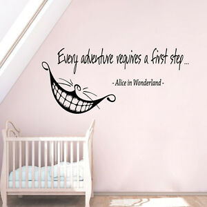 Details About Alice In Wonderland Wall Decal Quote Cheshire Cat Vinyl Art Nursery Decor Ki109