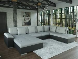 sofa galera schwarz grau ecksofa wohnlandschaft u form couch garnitur mit kissen ebay. Black Bedroom Furniture Sets. Home Design Ideas
