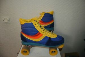 ROLLER-QUAD-BASKET-TAILLE-43-PATIN-A-ROULETTE-CHAUSSURE-VINTAGE-1970-1980-TAIWAN