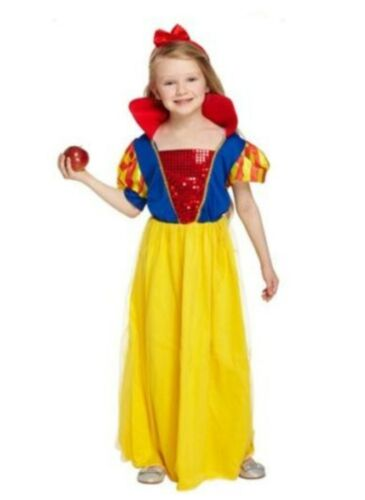 Child Girls Snow White Princess Style Book Day Fancy Dress Costume Ages 4-12