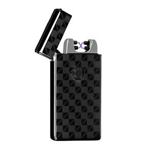 USB-Electric-Dual-Arc-Plaid-Metal-Flameless-Torch-Rechargeable-Windproof-Lighter