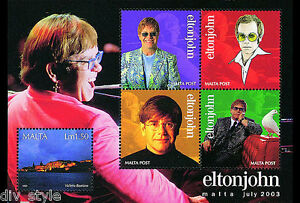 Elton John miniature sheet mnh stamp + 4 labels 2003 Malta #1134