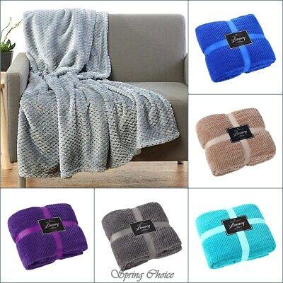 Luxury Throws Double King Size Fleece Warm  Blanket Sofa Bed Popcorn