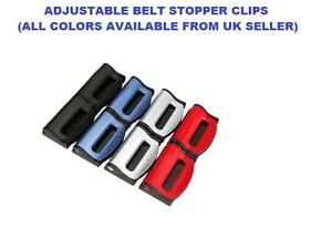 SILVER BMW ADJUSTABLE SAFETY BELT STOPPER CLIP CAR SEAT LUGGAGE PACK OF 2