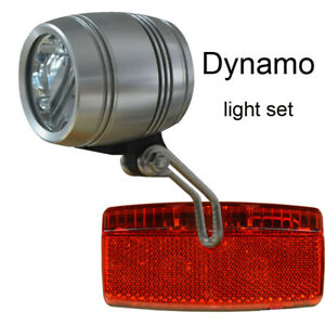 FOXEYE StVZO LED Bicycle Front Head light 40LUX for HUB dynamo rear light set