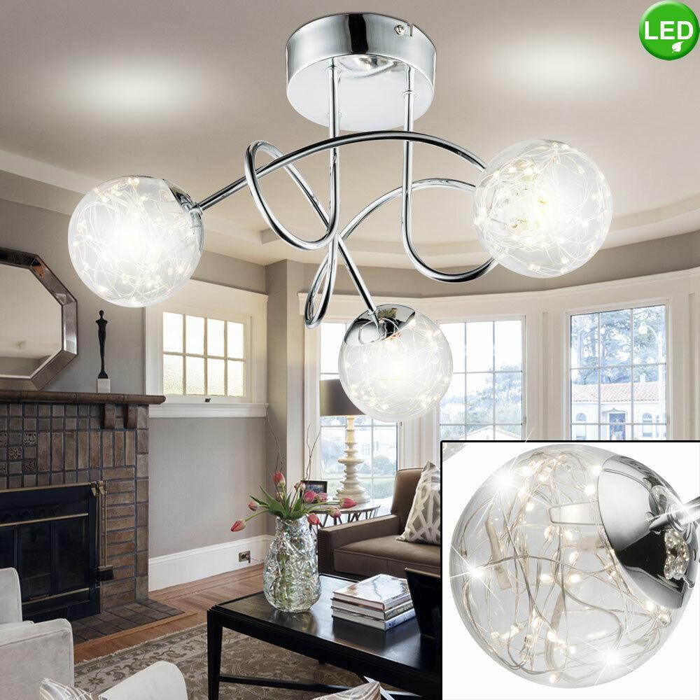 LED Design Decken Lampe Glas Kugel Spots Gäste Zimmer Beleuchtung Chrom Leuchte