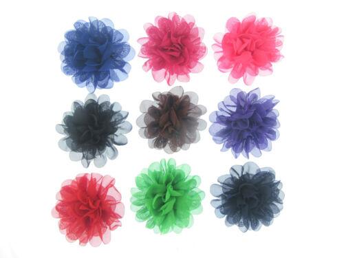 11cm Ruffled Chiffon Pompom Flower Hair Clips  Bobbles Bridesmaid Bridal