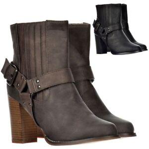 femmes-Bloque-talon-cubain-BOUCLES-CLOUS-bottes-chelsea-noir-brun-taille