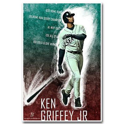 Ken Griffey Jr Baseball Art Silk Poster Prints Home Wall Decor 12x18 24x36inch