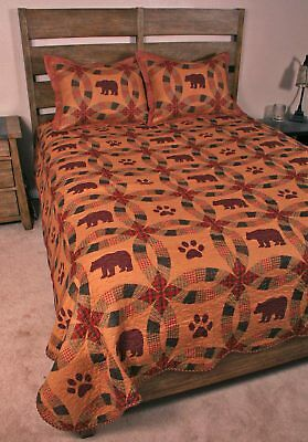 Black Bear Country Home Lodge Style Wedding Ring King Quilt Set