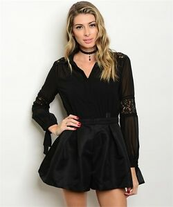 9a4f5b12898d MISSES SEXY BLACK FITTED WAIST LONG SLEEVE ROMPER LACE ACCENTS SIZE ...