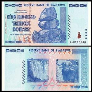 Zimbabwe-100-TRILLION-Dollars-AA-2008-Pick-91-UNC-AUTHENTIC-amp-UV-PASSED