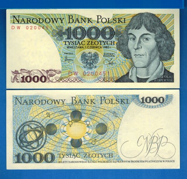 Solar System Uncirculated Banknote Poland P-146c 1000 Zlotych 1982 Kopernicus