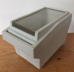 Vtg-Floppy-Disk-Top-Loading-Media-Storage-Box-Container-Beige-Plastic-Clear-Top