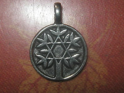 PEWTER  STEEL  28mm  STAR OF DAVID TREE OF LIFE PENDANT CHARM NECKLACE