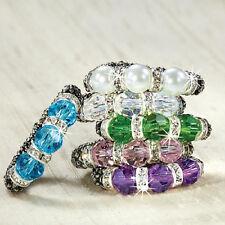 Crystal & Faux Pearl Stretch Ring NEW!! Sale Rhinestones