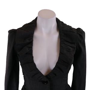 Sele Women Small Blazer Gray Long Sleeve Button Front Ruffled Collar Top13138