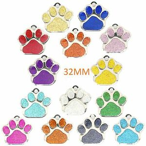 Dog-ID-Tag-LARGE-32mm-PET-TAGS-Reflective-Glitter-Dog-Paw-ENGRAVED-OPTIONS