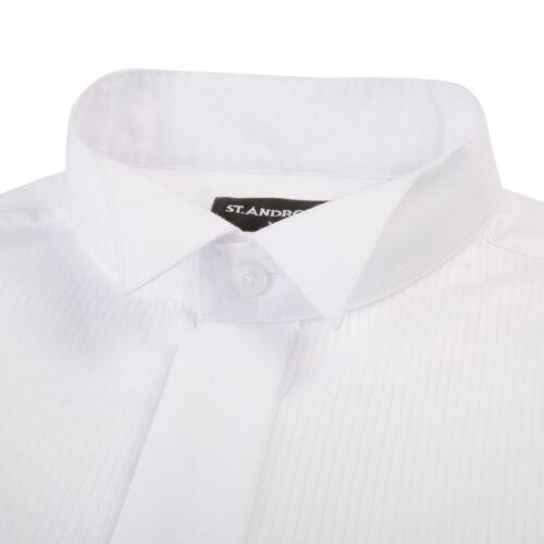 Da Uomo Bianca Colletto Regolare misto cotone circonferenza Smoking Smoking Nero Cravatta Camicia Abito da sposa