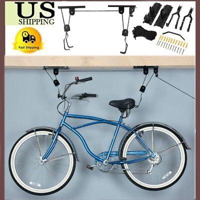 Lot Bike Bicycle Hanger Pulley Rack Hoist Storage Garage Lift Ceiling Mounted BT